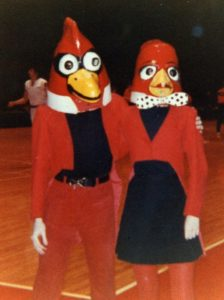 Cardinal Mascot Lowell and Bernice
